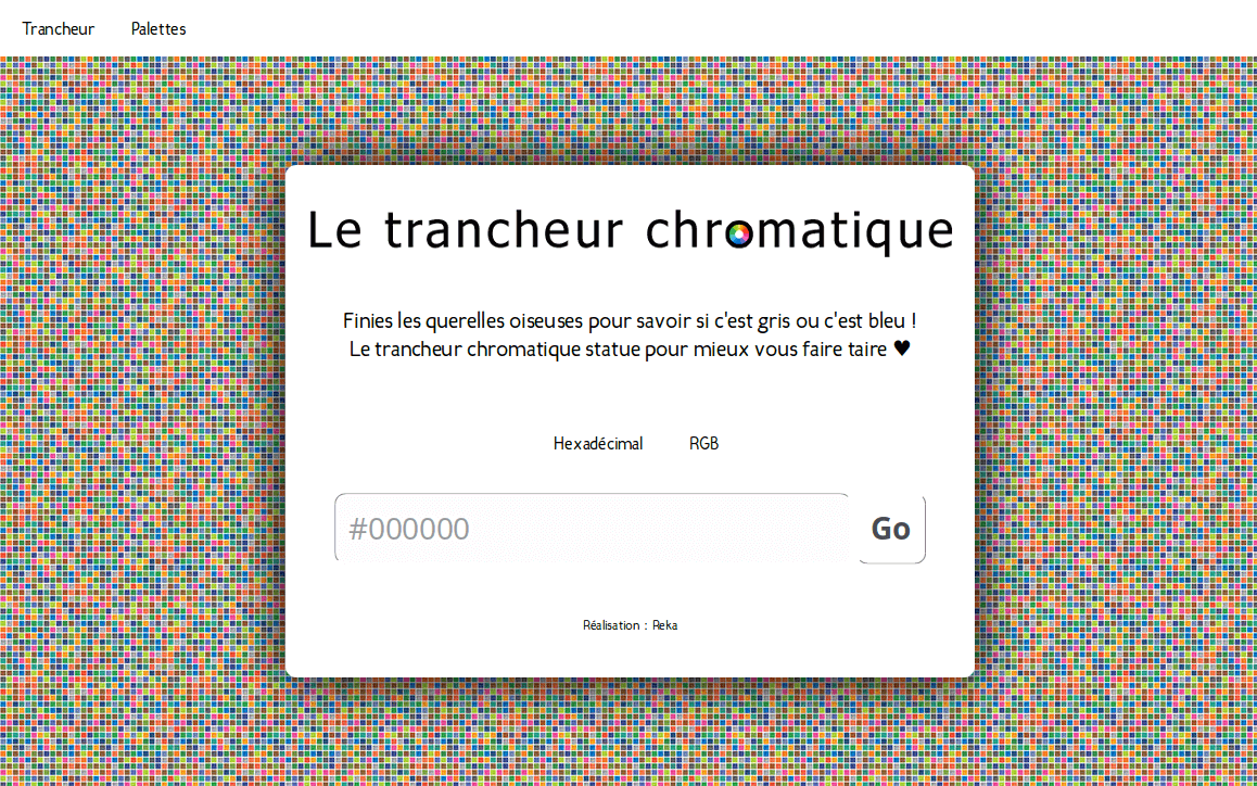 Capture d'écran du site Le trancheur chromatique